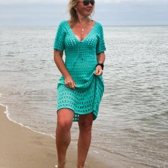 Туника пляжная бирюзовая вязаная Платье пляжное вязаное Десерт в пустыне по мотивам Костуровой
