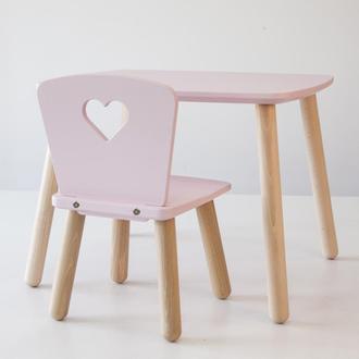 Комплект стол и стул детский 4-7 лет, пудровый