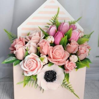 Букет из мыльных цветов: розы, тюльпаны, анемон