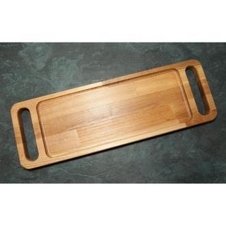 Сервировочная доска поднос деревянная тарелка для стейка шашлыка мяса мясных блюд и нарезки с ручкам