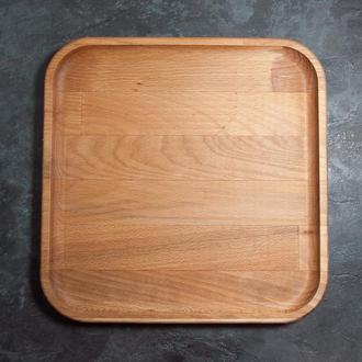 """Сервірувальна дошка дерев'яна тарілка для подачі стейка шашлику м'ясних страв та нарізки 29х29 см """"А"""