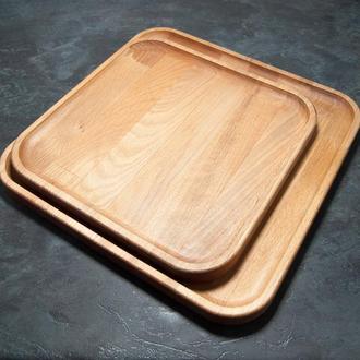 Сервировочная доска деревянная тарелка для подачи стейка шашлыка мясных блюд суши и нарезки 24х24 см