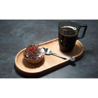 Сервировочная доска деревянная тарелка для подачи стейка шашлыка мясных блюд суши и нарезки 29х14 см