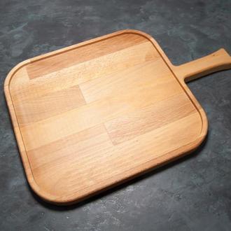 Сервировочная доска деревянная тарелка для подачи стейка шашлыка мясных блюд суши и нарезки 36х24 см