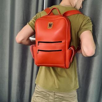 Портфель рюкзак большой вместимый мужской женский универсальный Красный Кожа KROUPKA