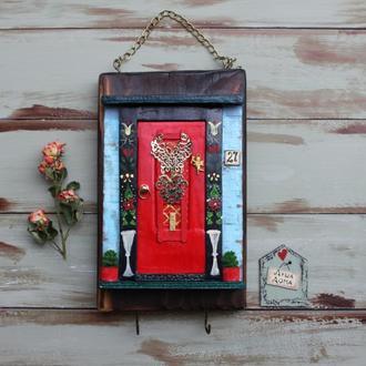 Ключница Дверь красная