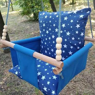 Гойдалки дитячі підвісні, дитяча гойдалка, гойдалка дитяча зорепад синя