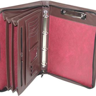 Папка-портфель мужская из эко кожи Portfolio коричневая