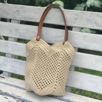Сумка шопер Магнолія літня сумка пляжна Монголія поліефірний шнур торба в'язана гачком
