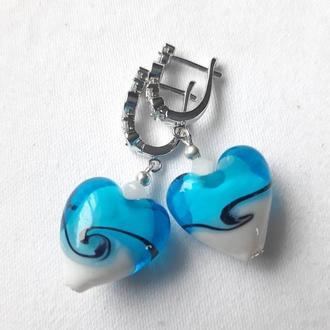 Серебряные серьги Сердце в морском стиле