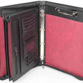 Папка-портфель деловая из эко кожи Portfolio черная