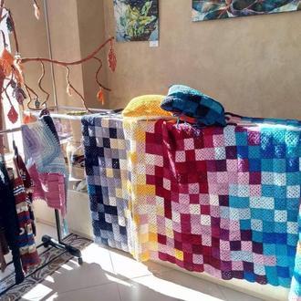 Красочный квадратный плед бабушки, вязаный крючком домашний декор, индивидуальное пиксельное одеяло,
