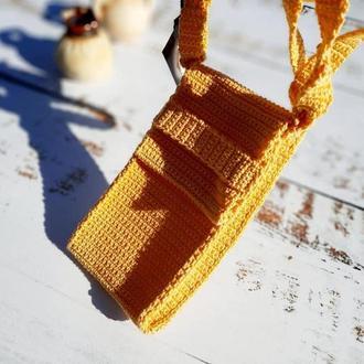 Маленькая сумочка для смартфона, вязаный крючком кошелек для мобильного телефона