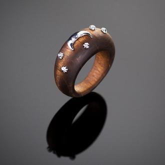 Деревянное кольцо Лунная ночь