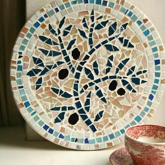 Ветка оливы. Декоративная тарелка, мозаика