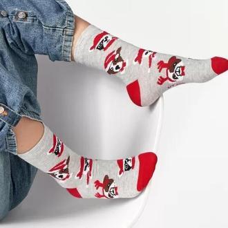 Носки детские с рисунками мордочек собак в новогодних шапках.Размер 16-18 (24-29)