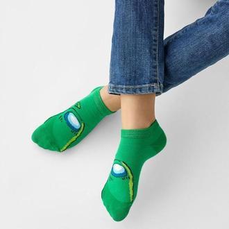 Детские носки следы Амонг зеленый. Размер 16-18