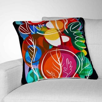 Интерьерная подушка для дивана Abstract Flowers. Подушка для дивана. Декоративная подушк