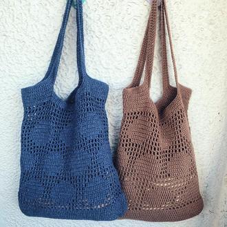 Вязаный шоппер/авоська/вязаная сумка крючком