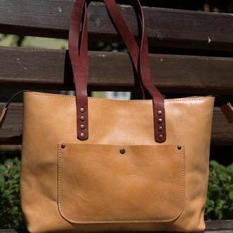 Містка сумка формату А4з шкіри