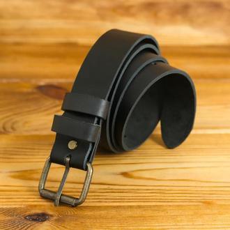 Шкіряний пояс під джинси, колір чорний, пряжка №1