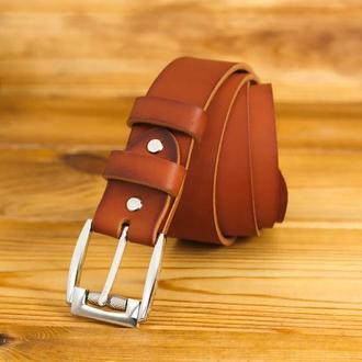 Шкіряний пояс під джинси, колір коньяк, пряжка №4