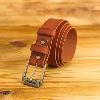 Кожаный пояс под джинсы, цвет коньяк, пряжка  № 3