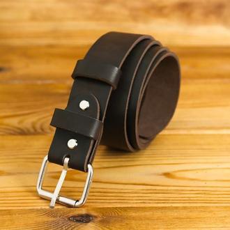 Кожаный пояс под джинсы, цвет кофе, пряжка  №2