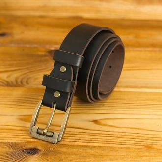 Кожаный пояс под джинсы, цвет кофе, пряжка №3