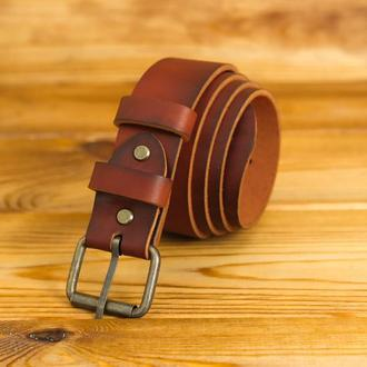 Кожаный пояс под джинсы, цвет вишня, пряжка  № 1
