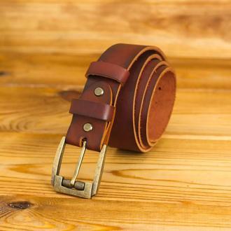 Шкіряний пояс під джинси, колір вишня, пряжка № 3