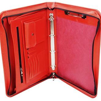 Женская кожаная деловая папка Portfolio Port1001SB красная