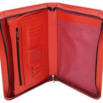 Женская кожаная папка для документов Portfolio Port1002 красная
