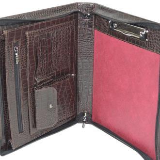 Папка-портфель из эко кожи под крокодила Portfolio коричневая