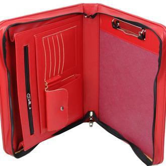 Женская папка-портфель из эко кожи Portfolio красная Port1009