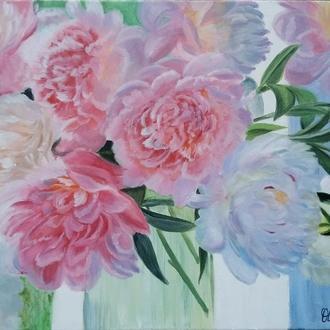 Картина маслом Півонії Квітковий живопис 40х50