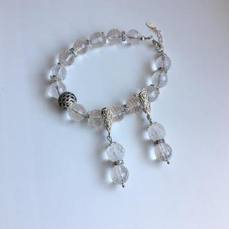 """Стильный серебряный комплект браслет и серьги из горного хрусталя """"Горное серебро"""""""