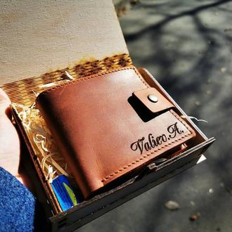 Именной кожаный кошелек короткий Classic+ (для мужчин и женщин)