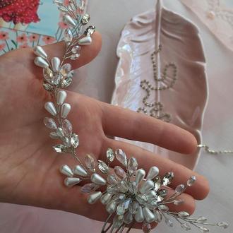 Свадебный гребень для невесты, свадебное украшение для невесты, украшение в  прическу