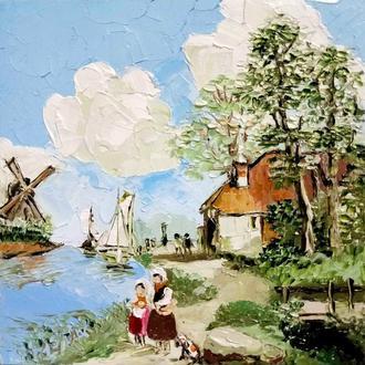 Картина старых голландских мастеров Река и мельница
