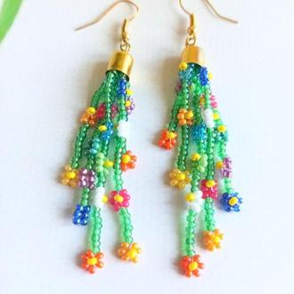 Красивые серьги, Разноцветные серьги, трендовые ромашки из бисера Подарок девушке