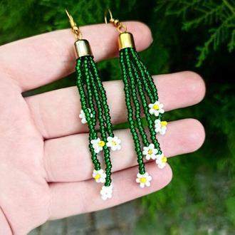 Зеленые серьги женские, Разноцветные серьги, трендовые ромашки из бисера Подарок девушке