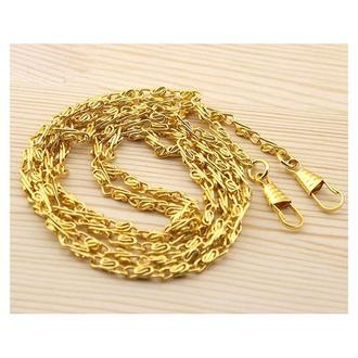 Цепочка плетеная с карабинами золото 120 см