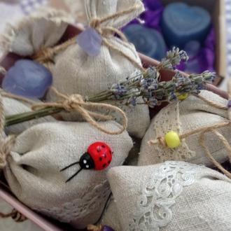 Саше ароматическое Лаванда - соцветия лаванды в льняном мешочке