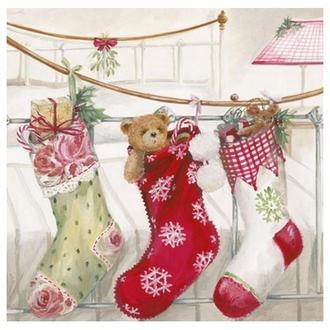Салфетка Рождественские носочки 2-1518