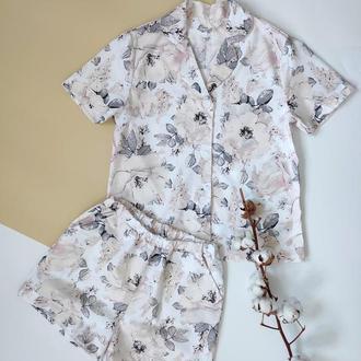 Женская пижама рубашка и шорты в пионы