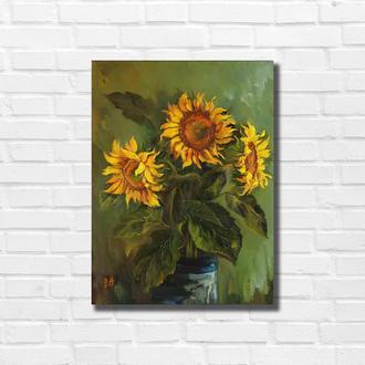 "Картина маслом ""Три подсолнуха"" 40×30 см, холст на подрамнике, масло"