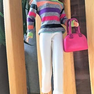 Комплект весенний полосатый разноцветный с белым на Барби.