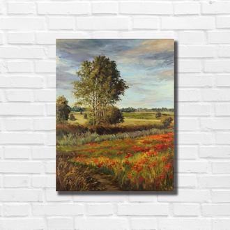 """Картина маслом """"Середина лета"""" 45×35 см, холст на подрамнике, масло"""