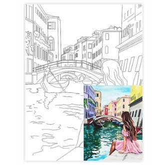 Холст на картоне 30х40 см с контуром Венеция